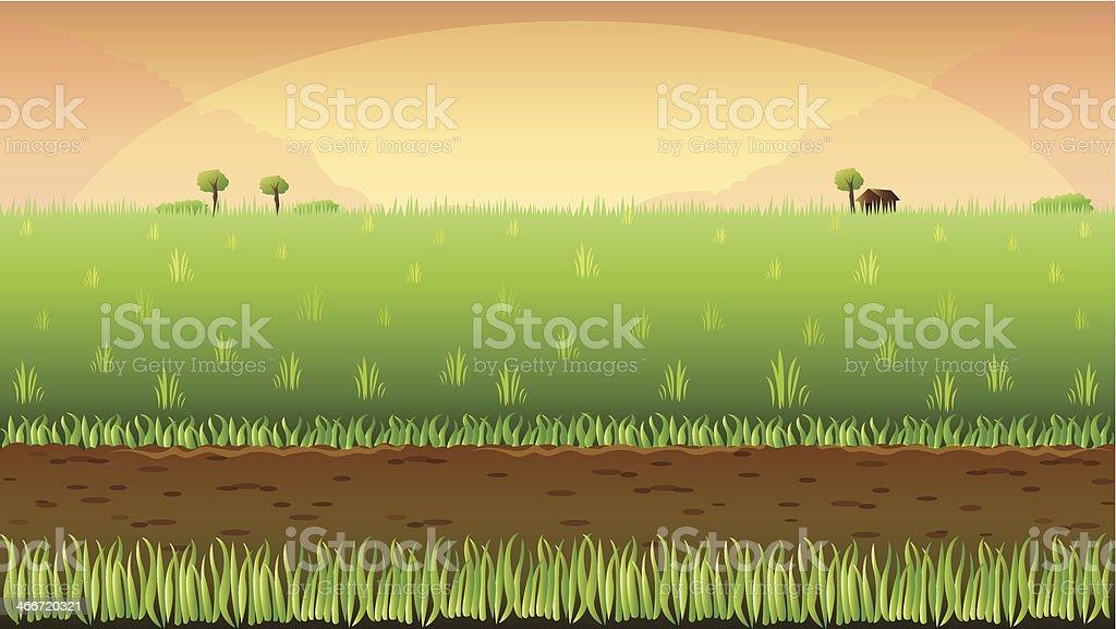 Meadow field background vector art illustration