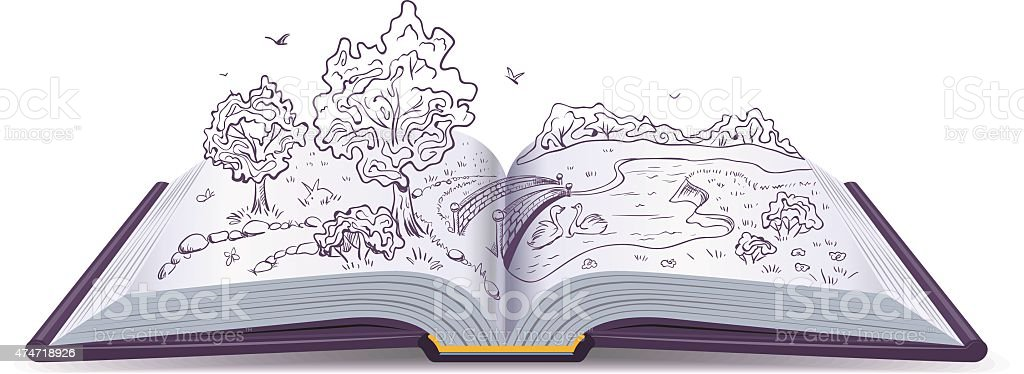 Meadow, River, bridge, trees in pages open book. Conceptual illustration vector art illustration