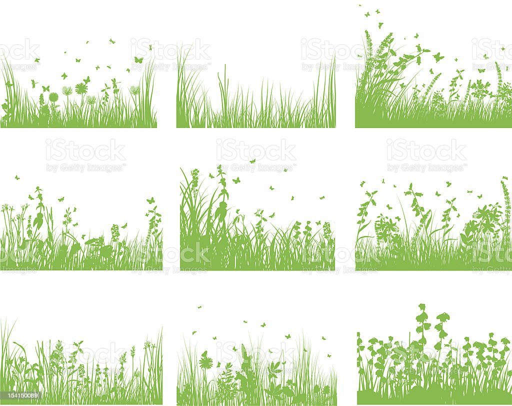 meadow silhouette set royalty-free stock vector art