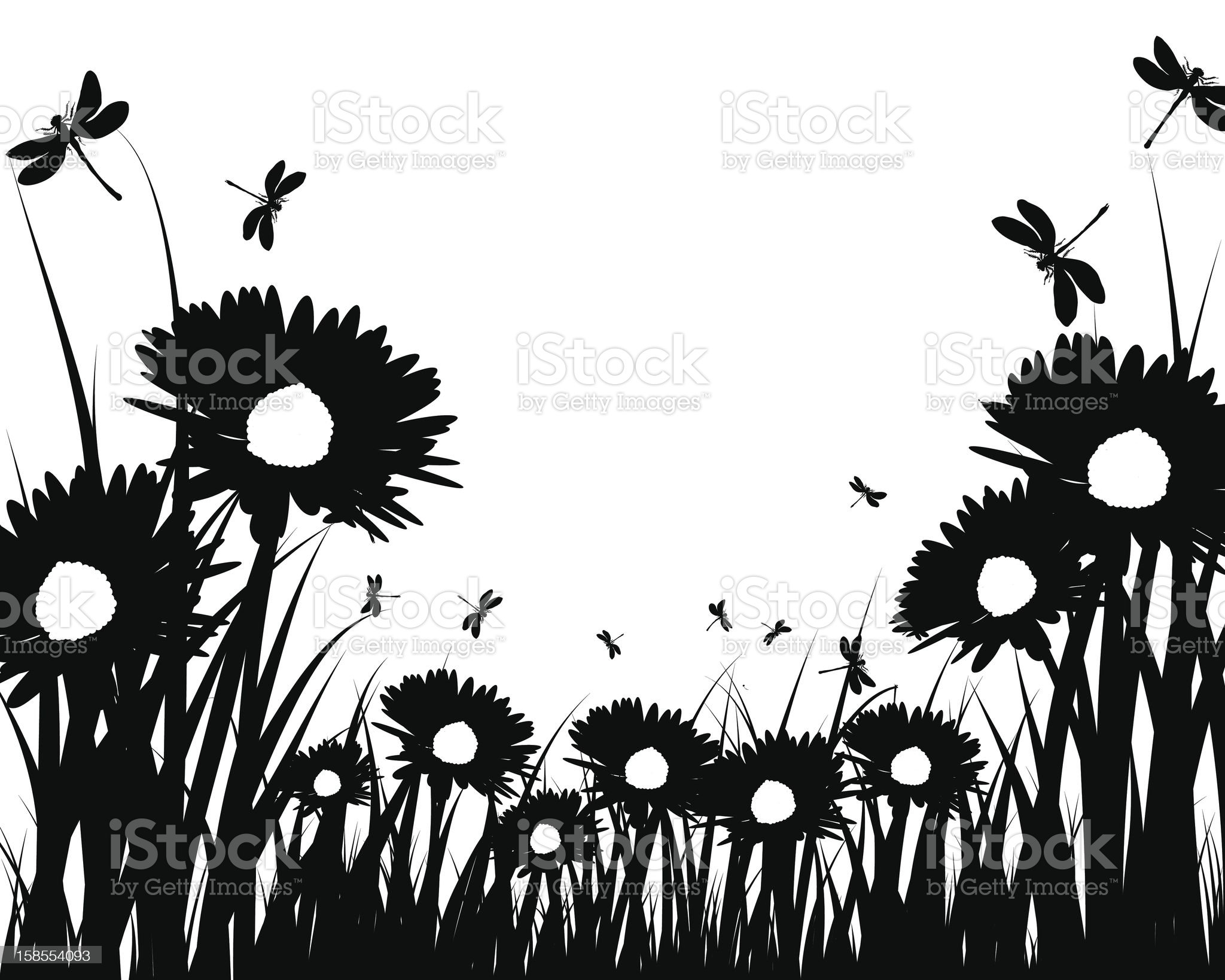 meadow silhouettes royalty-free stock vector art
