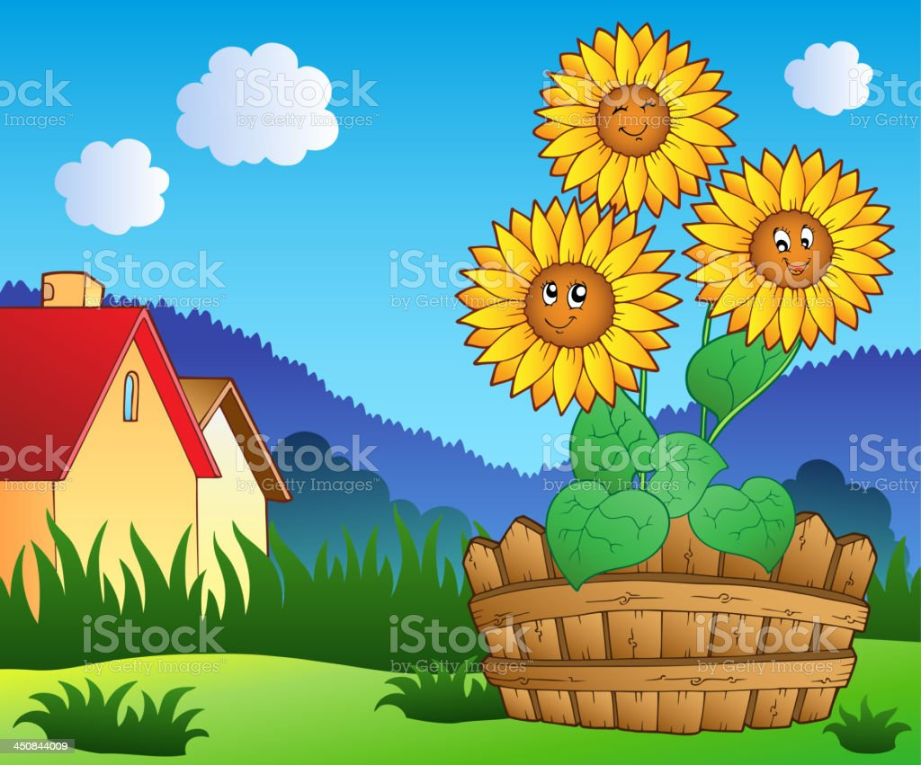 Meadow with three cute sunflowers vector art illustration