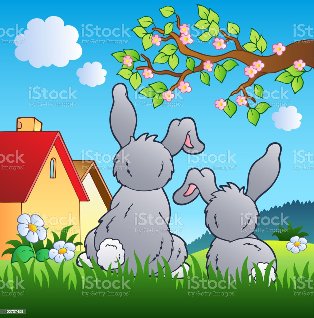Meadow with two rabbits vector art illustration