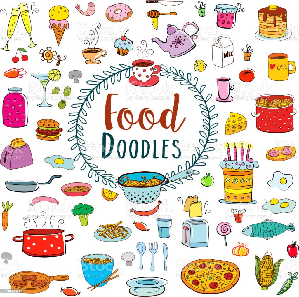 Meal and ware doodle set vector art illustration