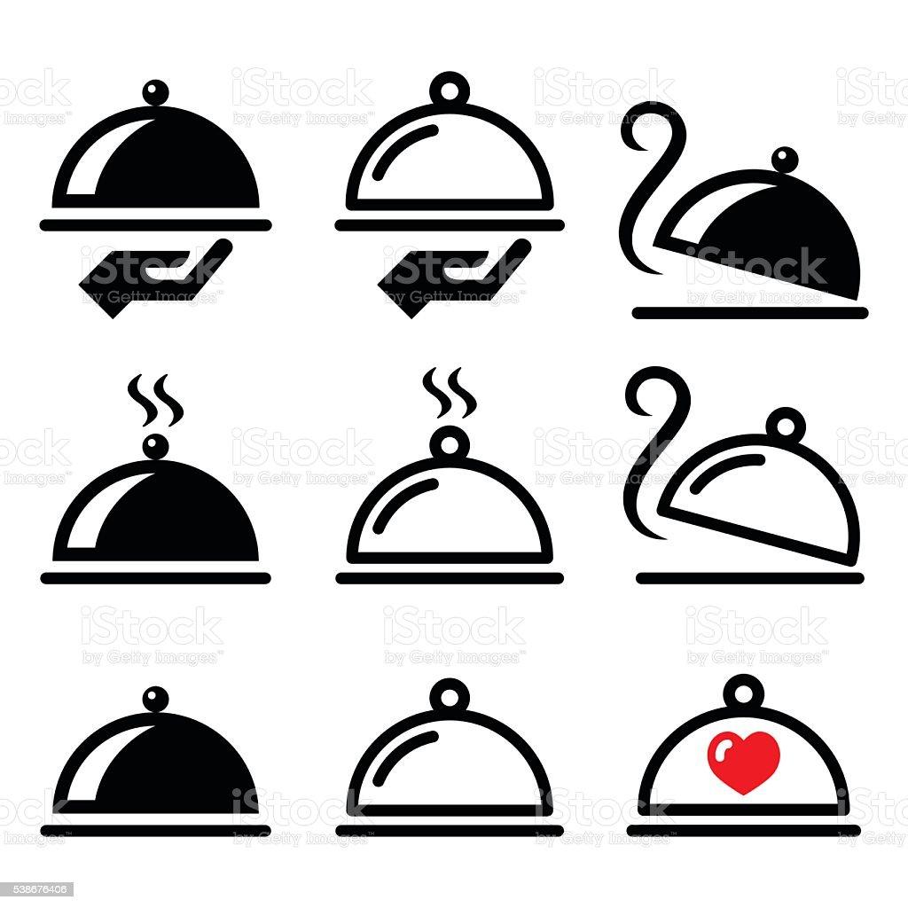 Meal, dinner, food platter icons set vector art illustration
