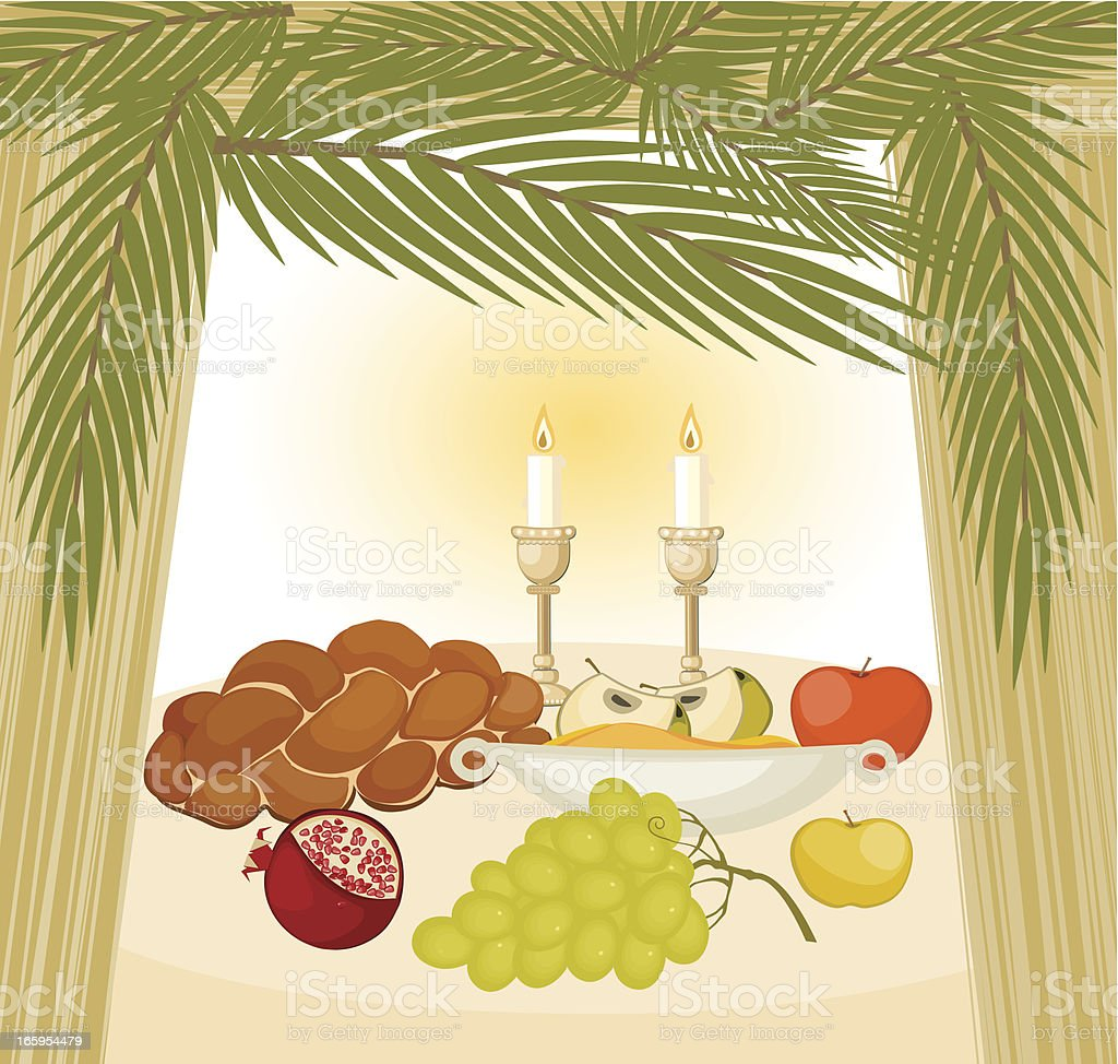 Meal In Sukkah vector art illustration