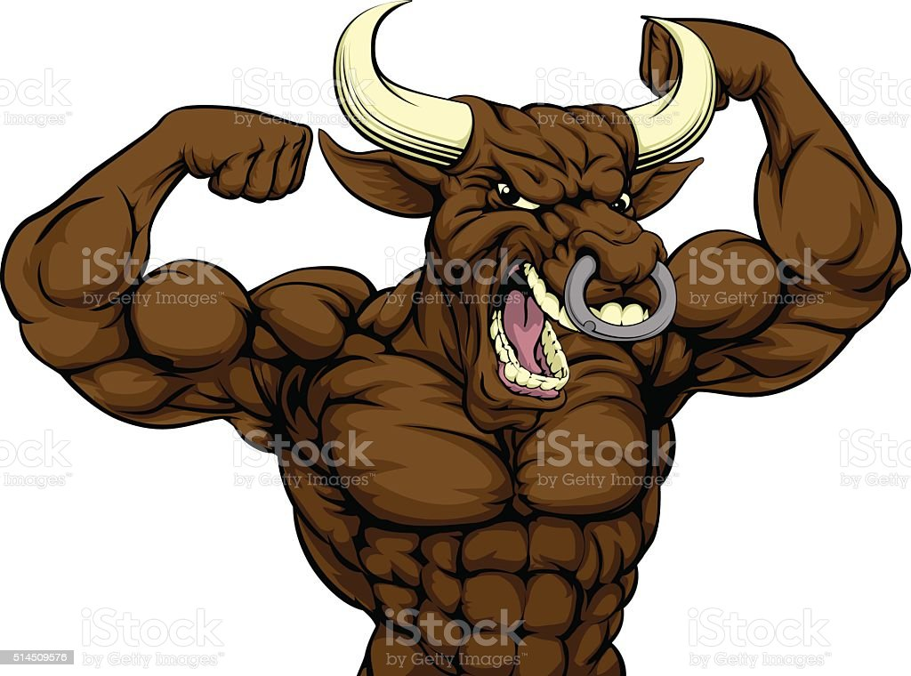 Mean Bull Sports Mascot vector art illustration