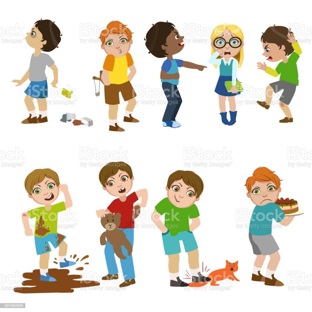 Mean Children Illustration vector art illustration