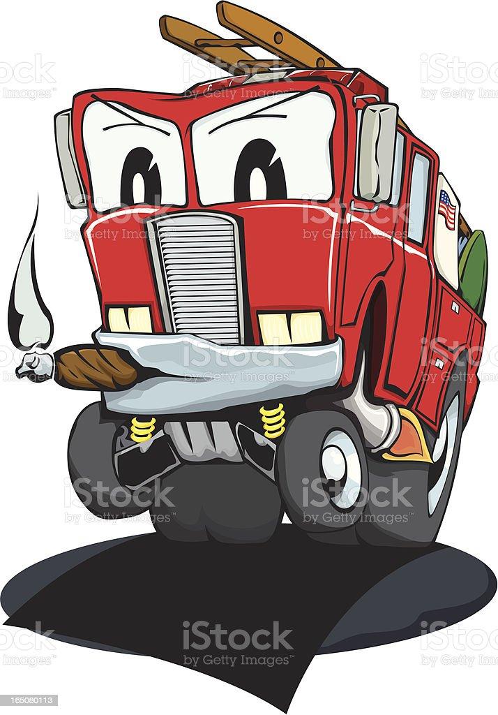 Mean Little Fire Truck royalty-free stock vector art