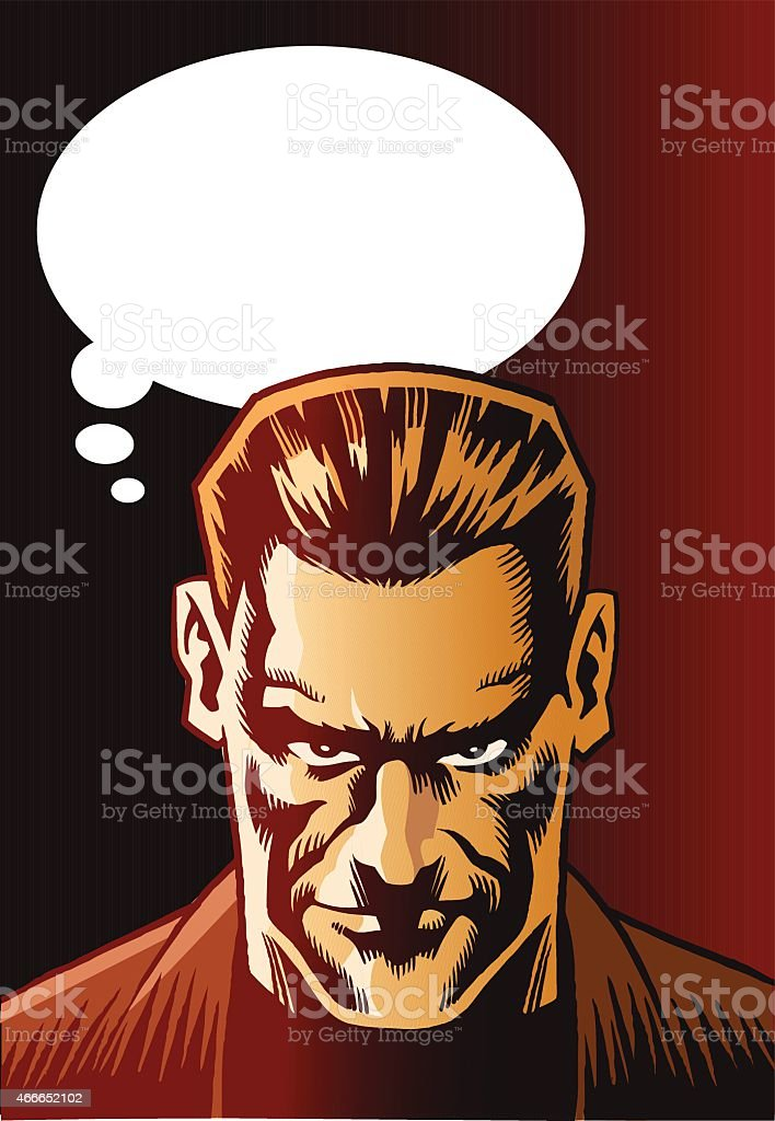 Mean Looking Man With Speech Bubble vector art illustration