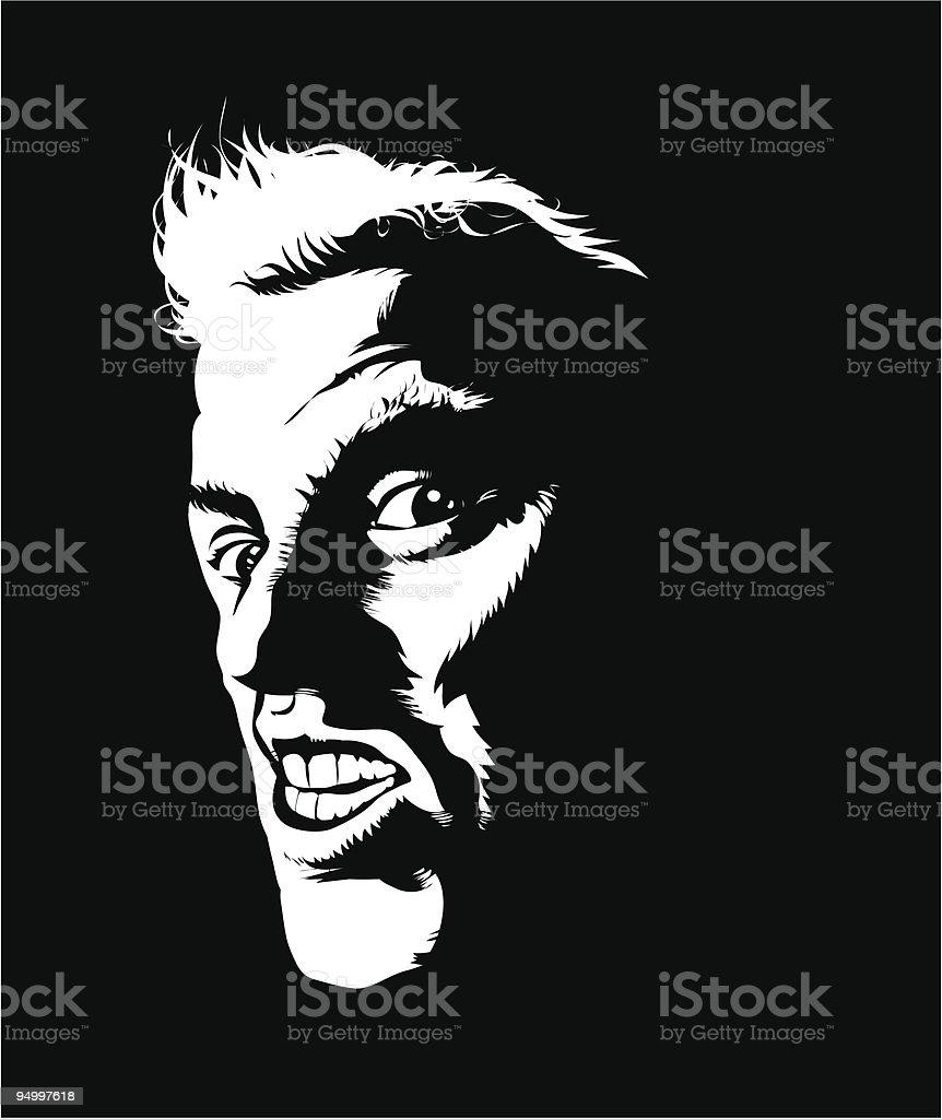 Mean man vector art illustration