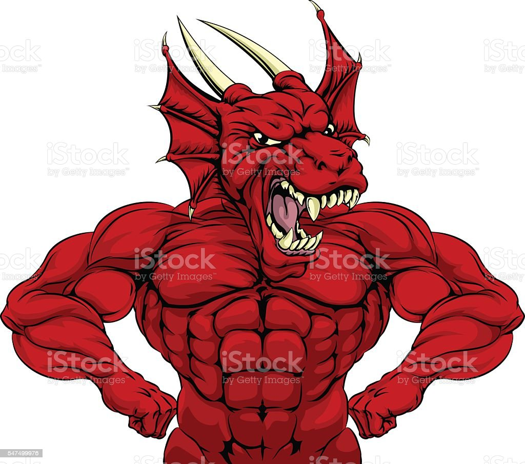 Mean Red Dragon Mascot vector art illustration