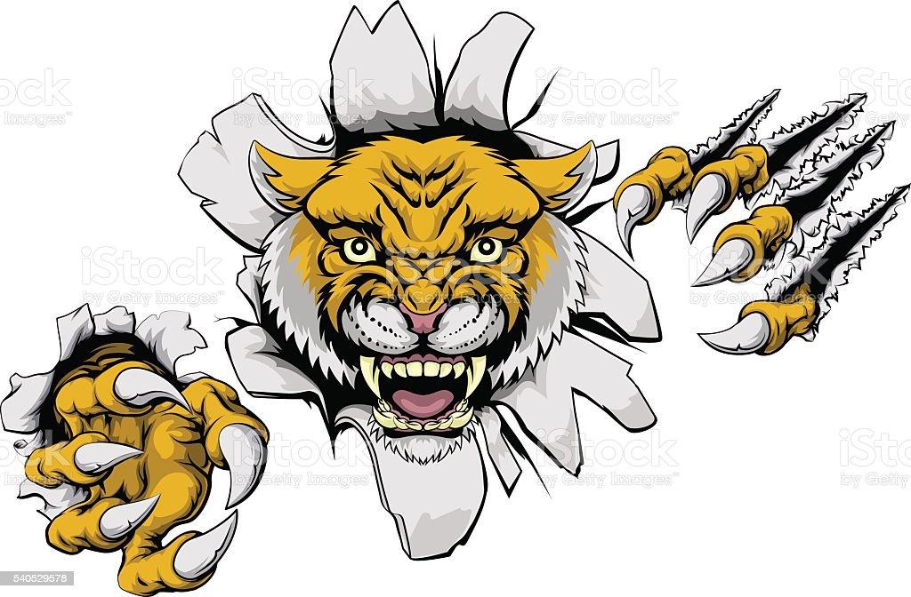 Mean Wildcat Mascot vector art illustration