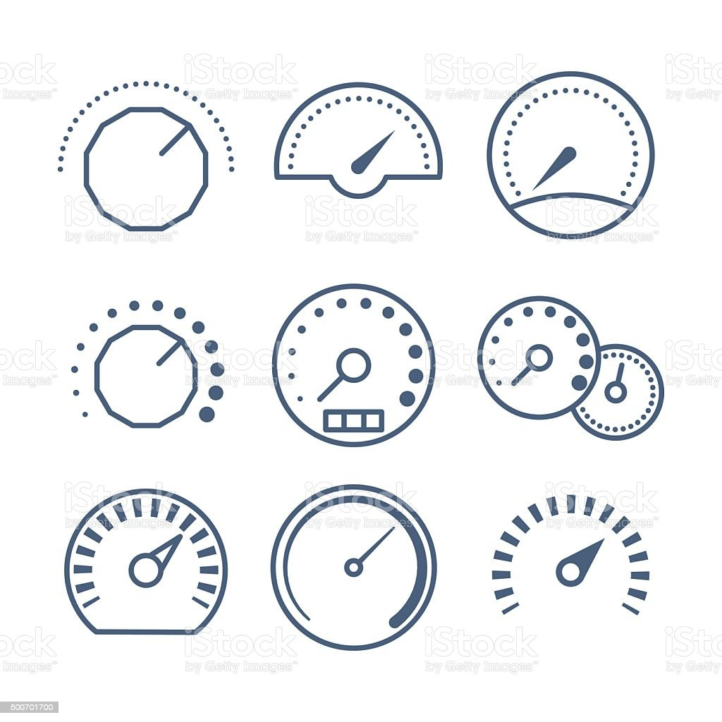Measure tools, speedometer, and volume control vector collection vector art illustration