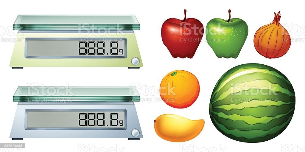 Measurement scales and fresh fruits vector art illustration