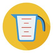 Measuring cup icon in flat style isolated on white background.
