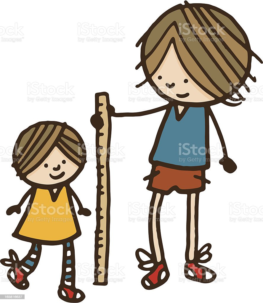 Measuring how tall his kid sister is vector art illustration