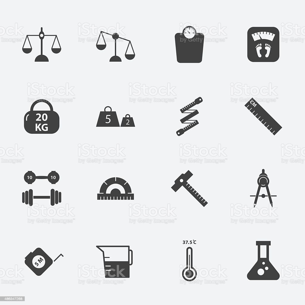 measuring icons set.vectorillustration. vector art illustration
