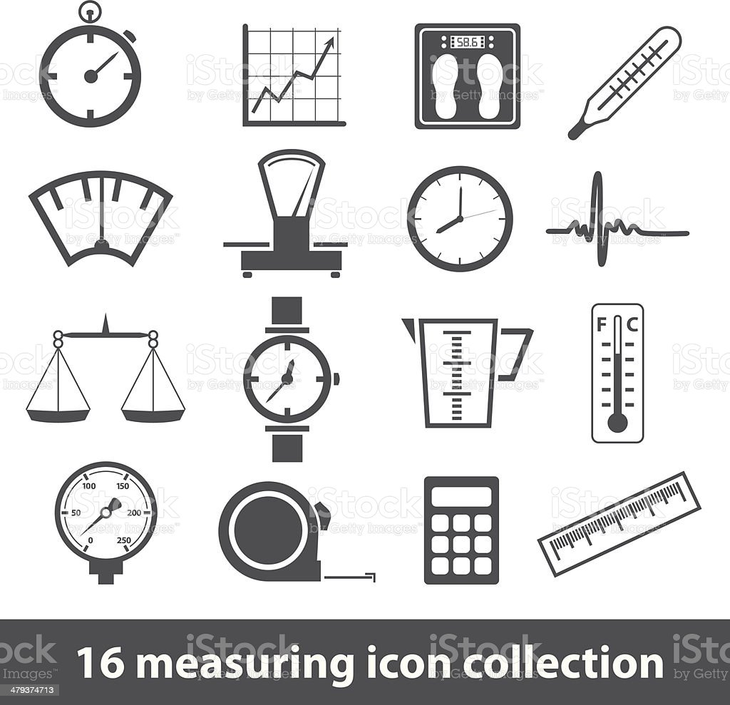 measuring icons vector art illustration