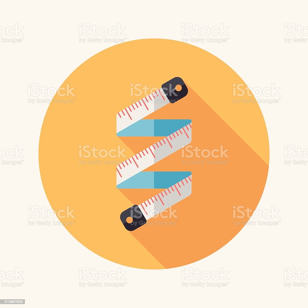 measuring tape flat icon with long shadow,eps10 vector art illustration