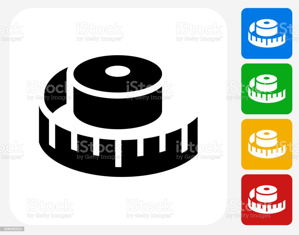 Measuring Tape Icon Flat Graphic Design vector art illustration