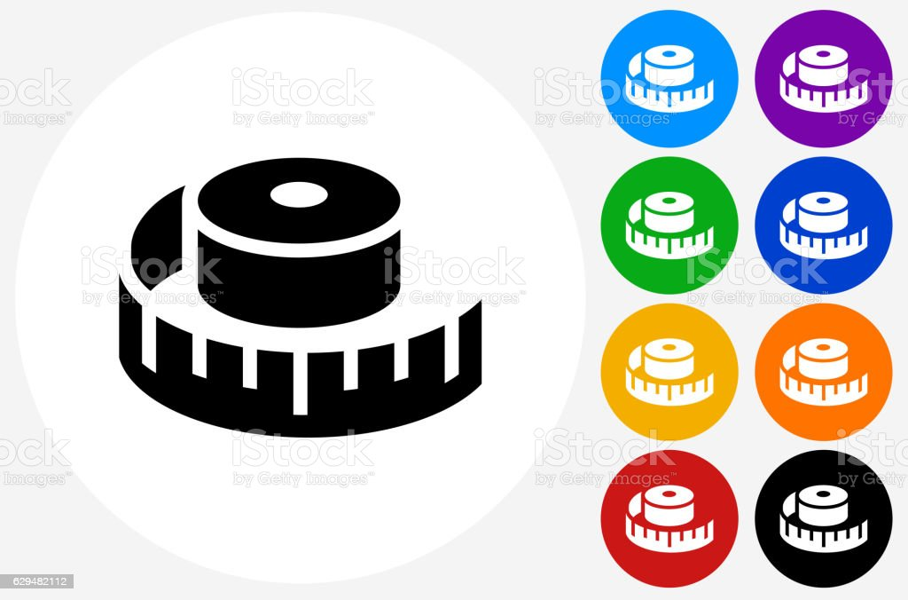 Measuring Tape Icon on Flat Color Circle Buttons vector art illustration