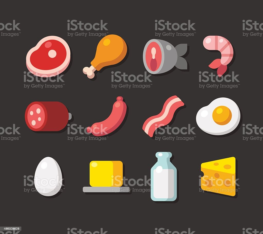 meat and dairy icons vector art illustration