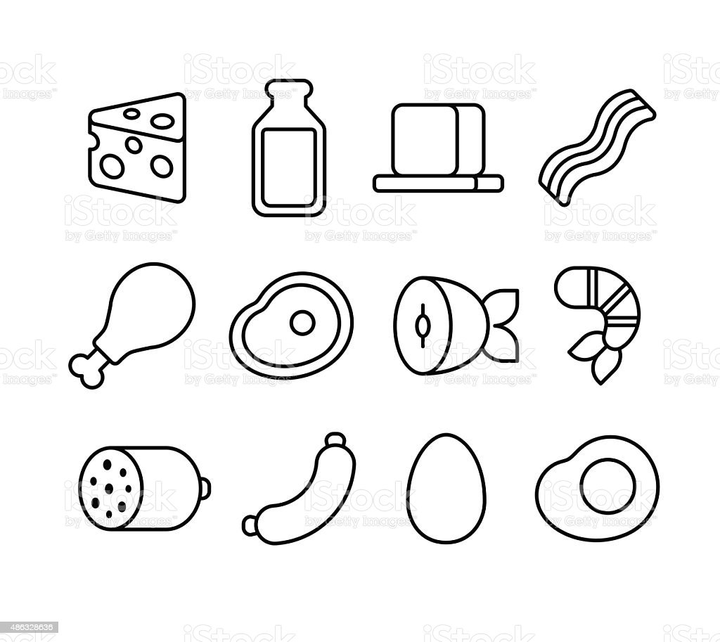 meat and dairy line icons vector art illustration