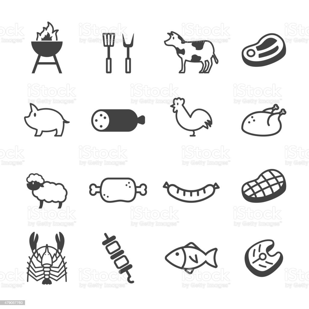 meat and grill icons vector art illustration