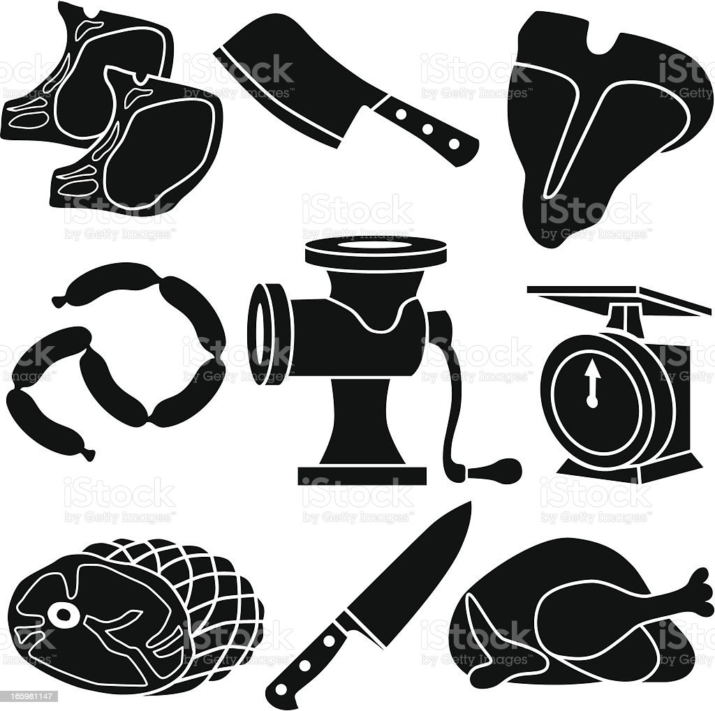 meat and grinder icons vector art illustration