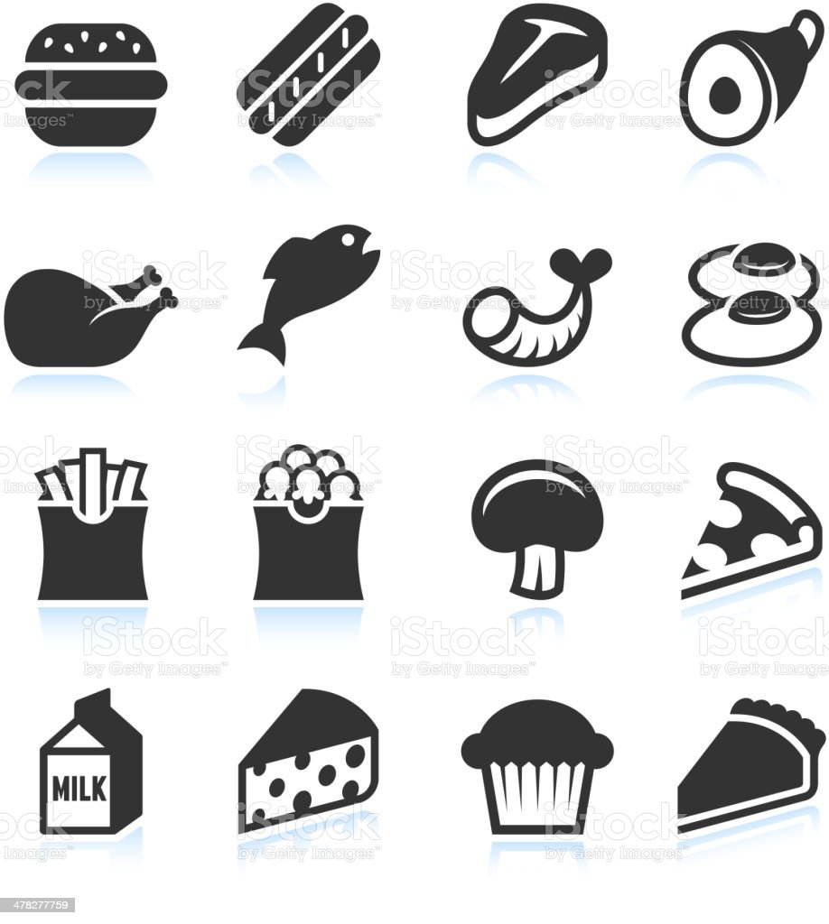 Meat and junk food Black and White royalty free vector art vector art illustration