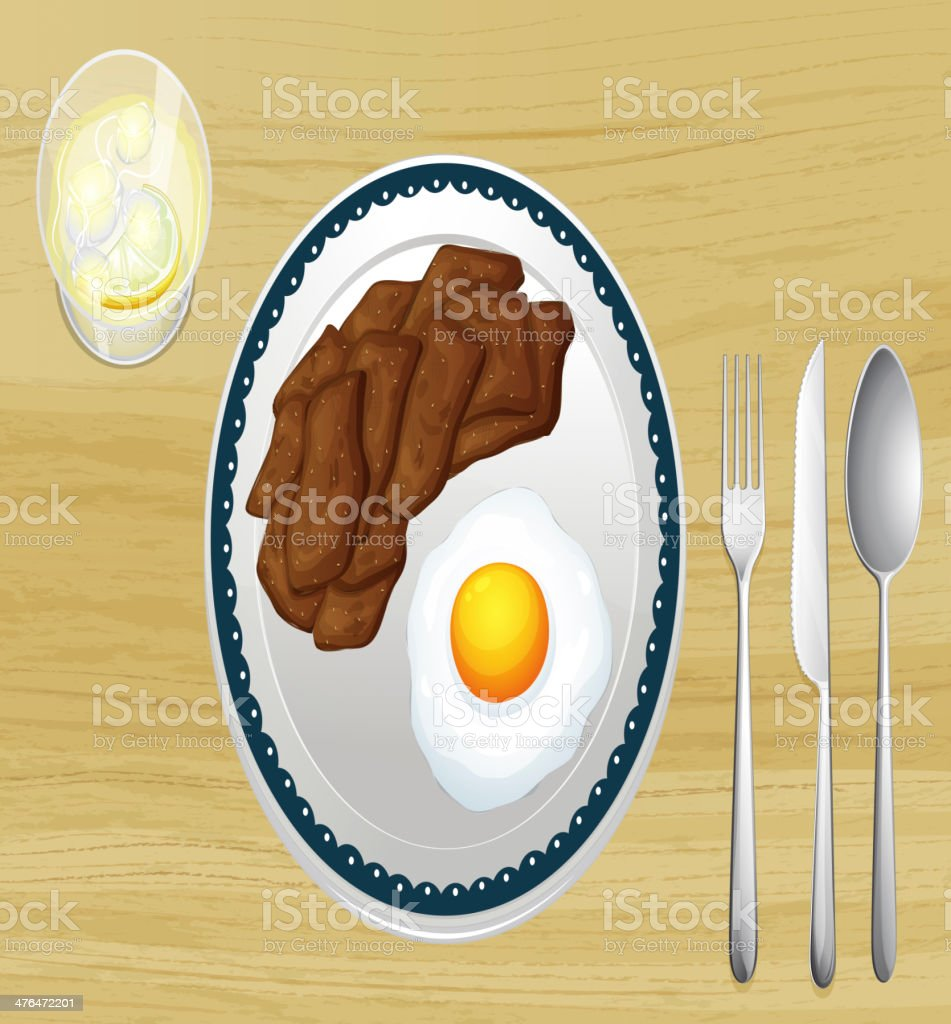 Meat and omelet in dish vector art illustration
