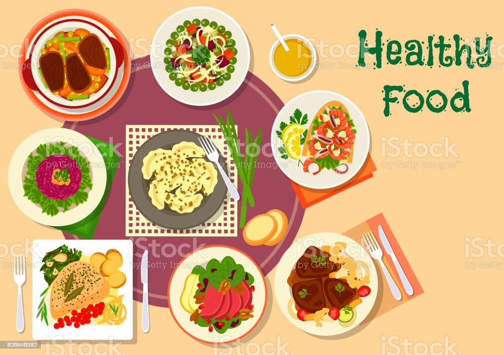 Meat and salad dishes icon for healthy food design vector art illustration