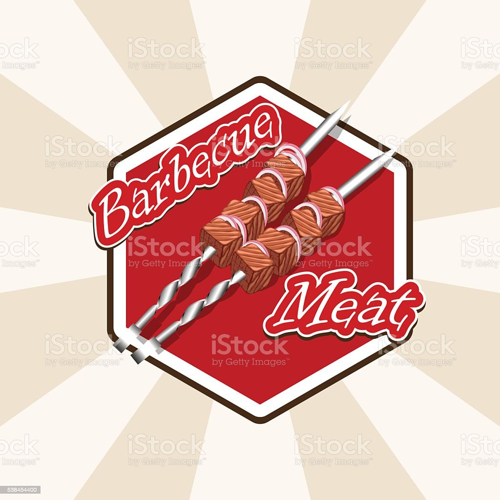 meat and skewers vector art illustration