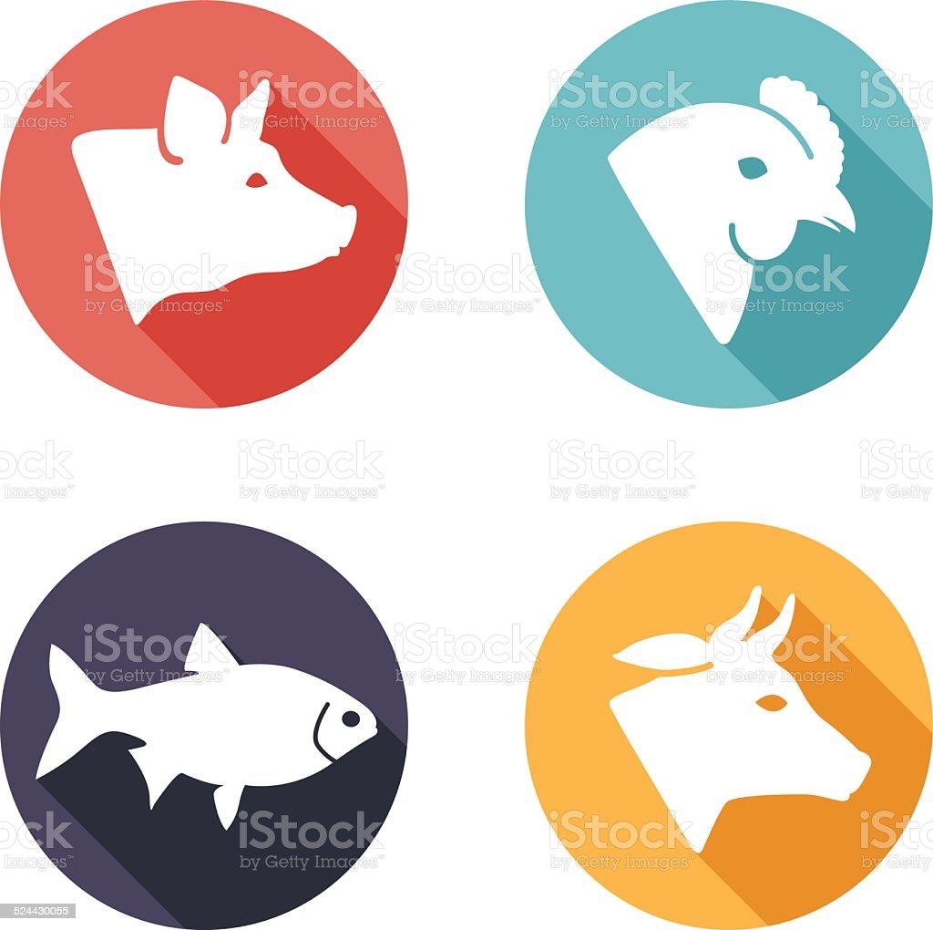Meat animals icons. Flat style vector art illustration
