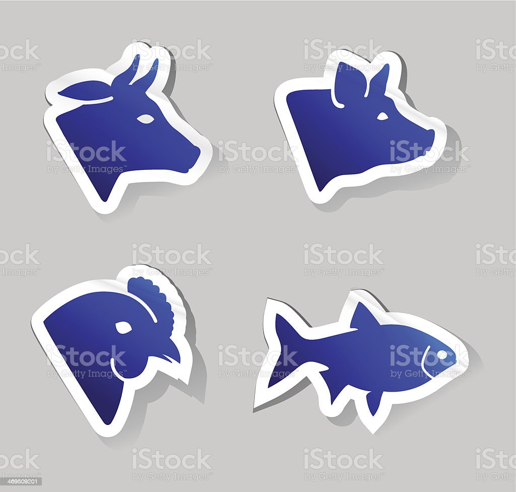 meat animals icons royalty-free stock vector art