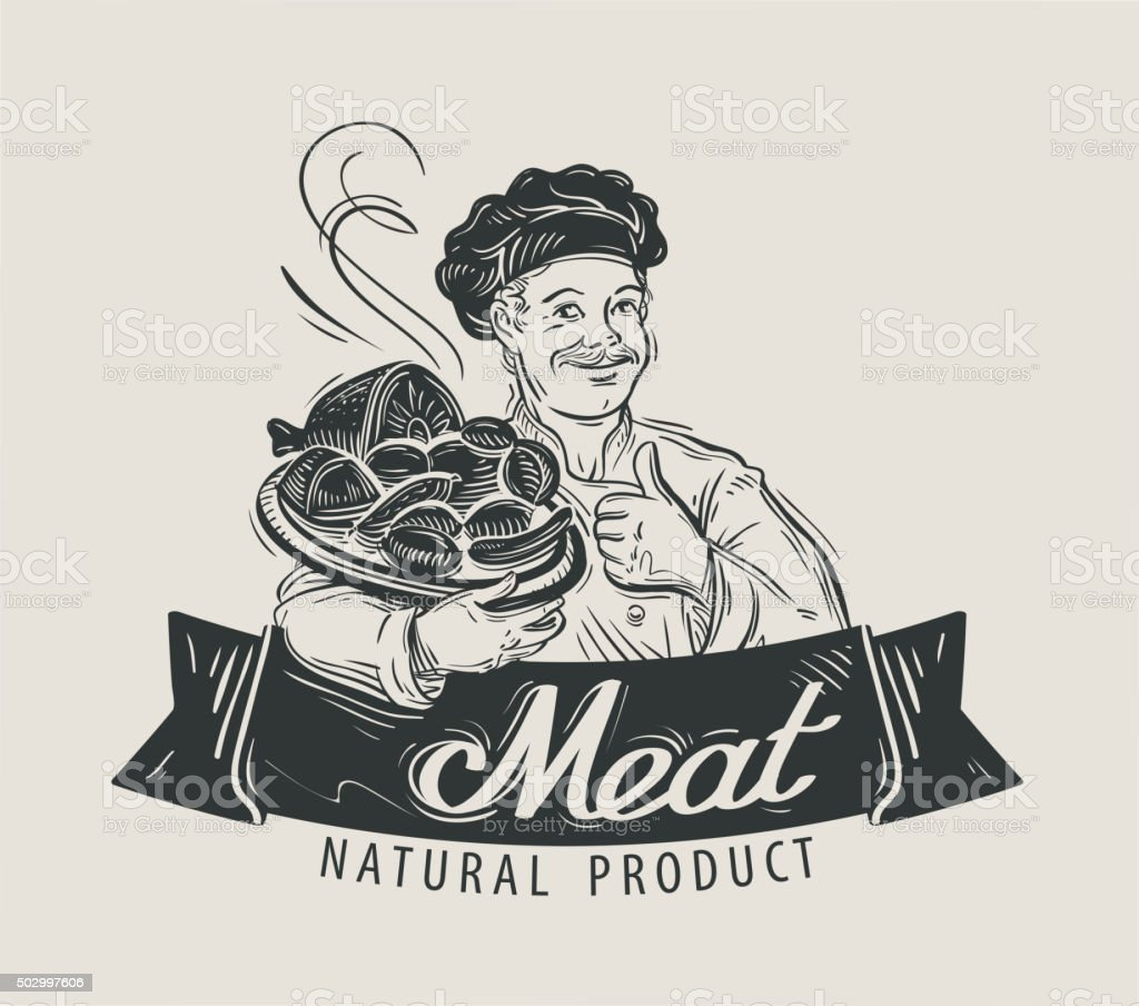 meat, beef, sausage vector logo design template. BBQ, barbecue, food vector art illustration