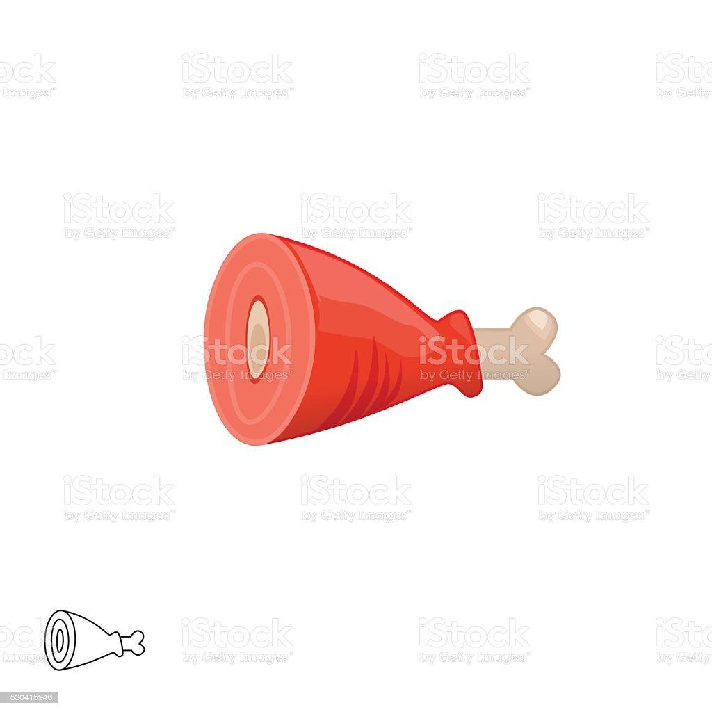 Meat bone vector illustration isolated on white background vector art illustration