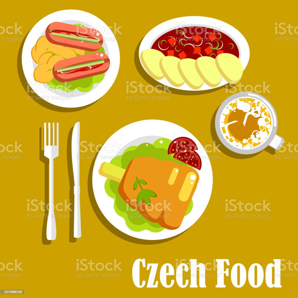 Meat dishes and drink of czech cuisine vector art illustration