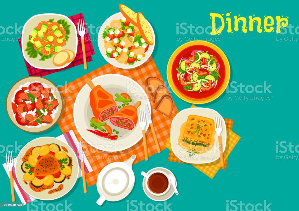 Meat dishes with fresh salads icon design vector art illustration