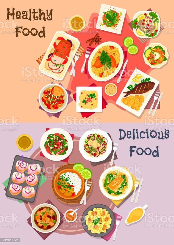 Meat dishes with seafood and veggies salad icon vector art illustration