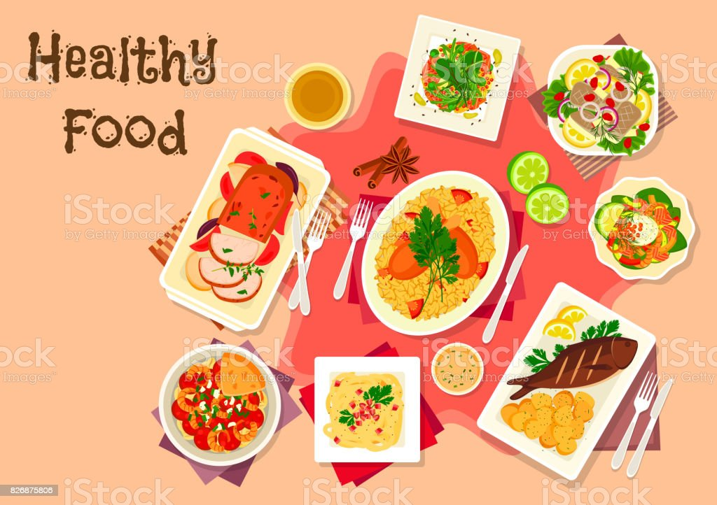 Meat dishes with seafood salad icon vector art illustration