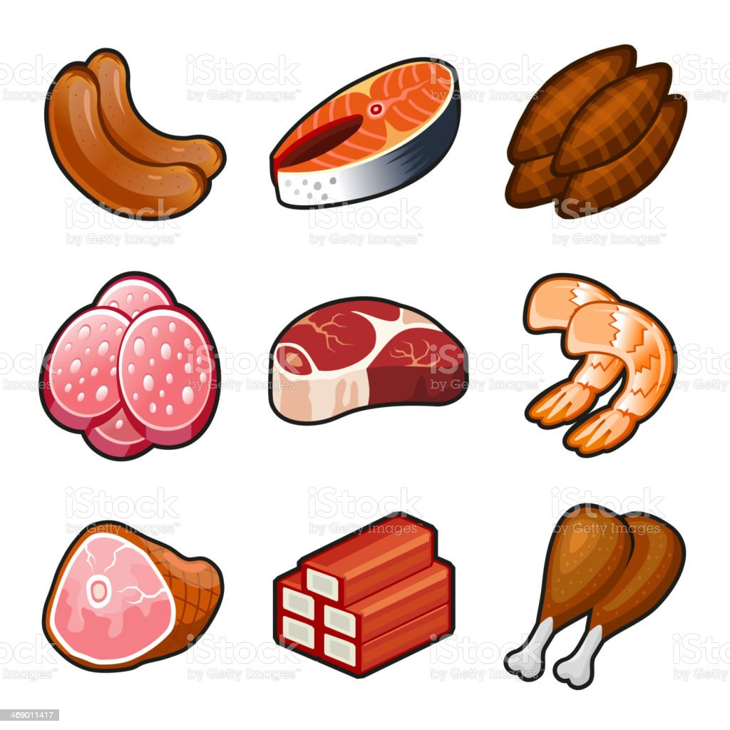 Meat food icons set royalty-free stock vector art