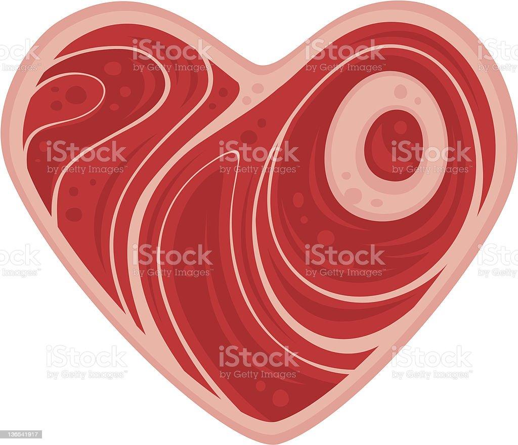 Meat Heart vector art illustration