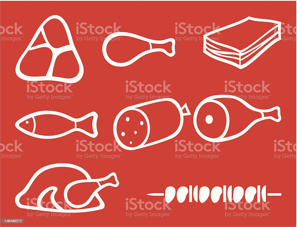 meat icons set vector art illustration