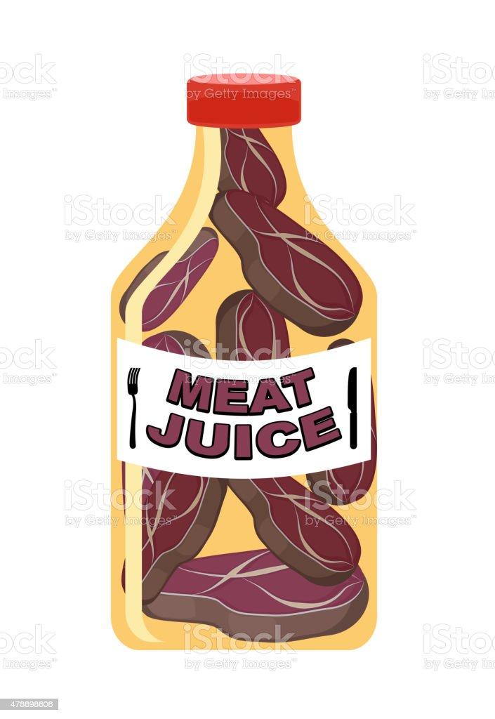 Meat juice in a transparent bottle. Drink for men. vector art illustration
