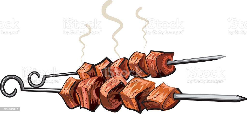 meat kebab grilled vector art illustration