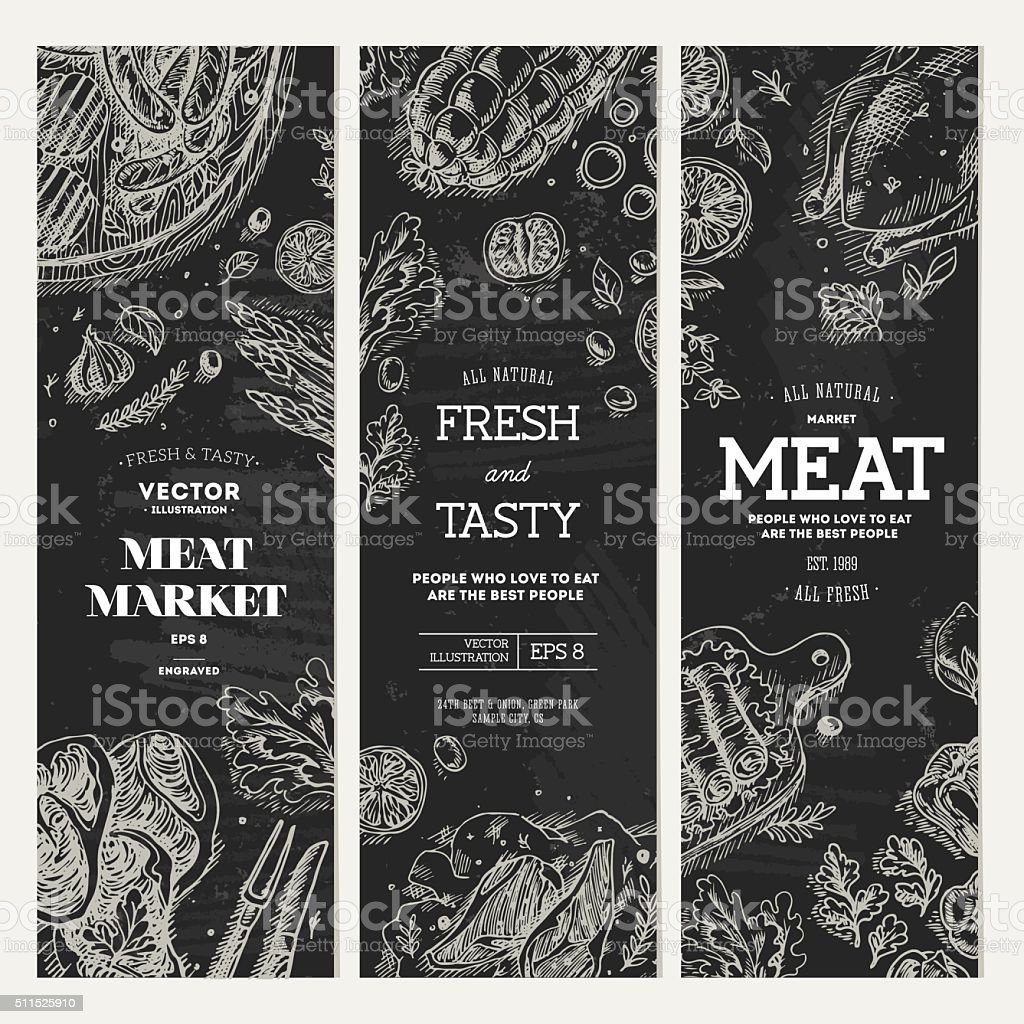 Meat market  chalkboard banner collection. Top view vintage illustration vector art illustration
