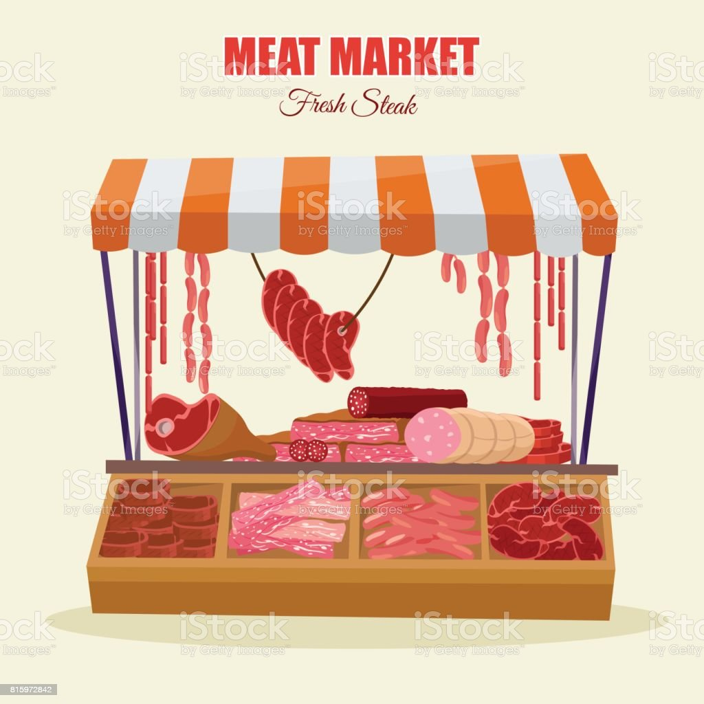 Meat market farm Butcher Shop modern flat cartoon vector illustration background vector art illustration
