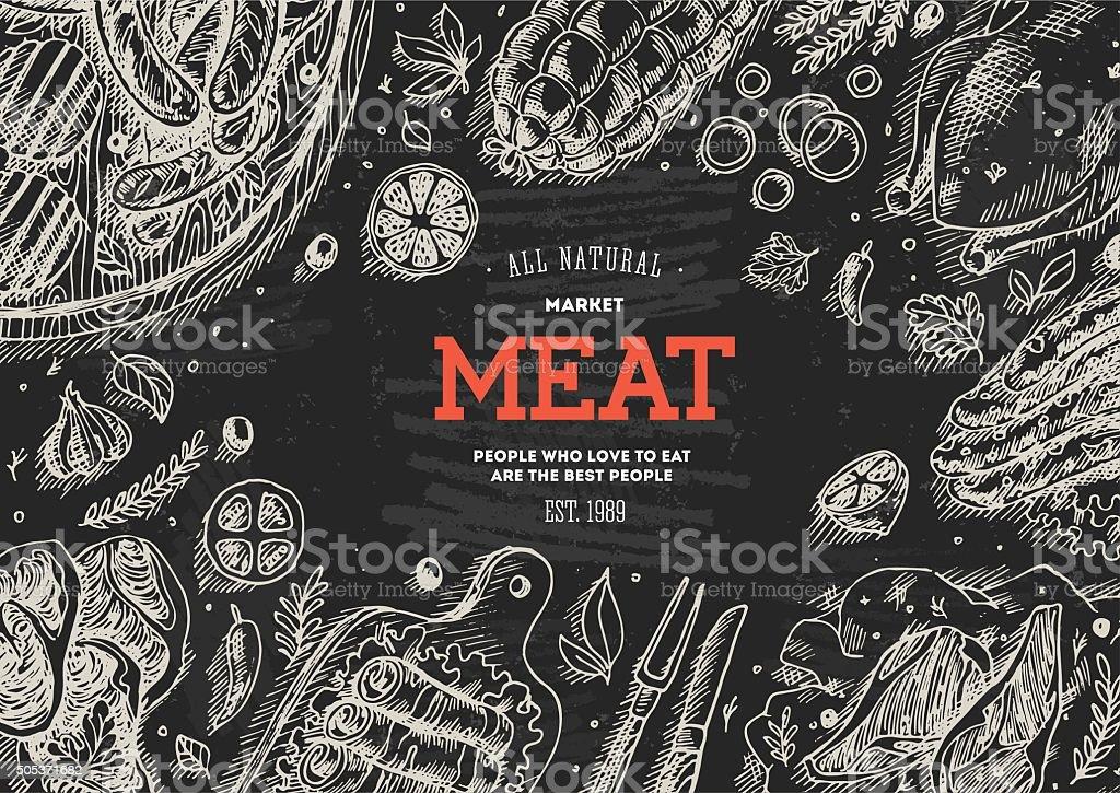 Meat market  frame. Linear graphic. Top view vintage illustration vector art illustration