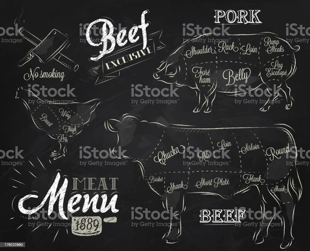 Meat Menu chalk vector art illustration